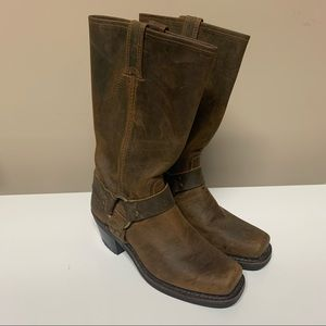 Frye Brown Moto Biker Distressed Buckle Boots